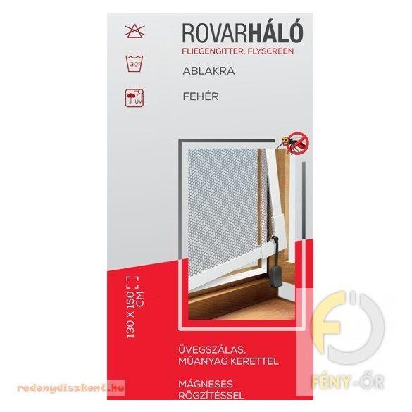 Rovarháló fehér műanyag kerettel, szürke hálóval, mágneses, 130*150 cm ablakra