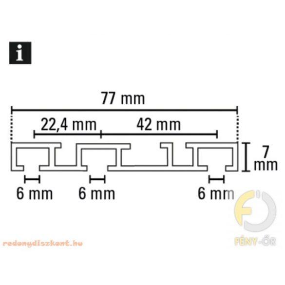 3. Slim line háromsoros alumínium függönysín - fehér