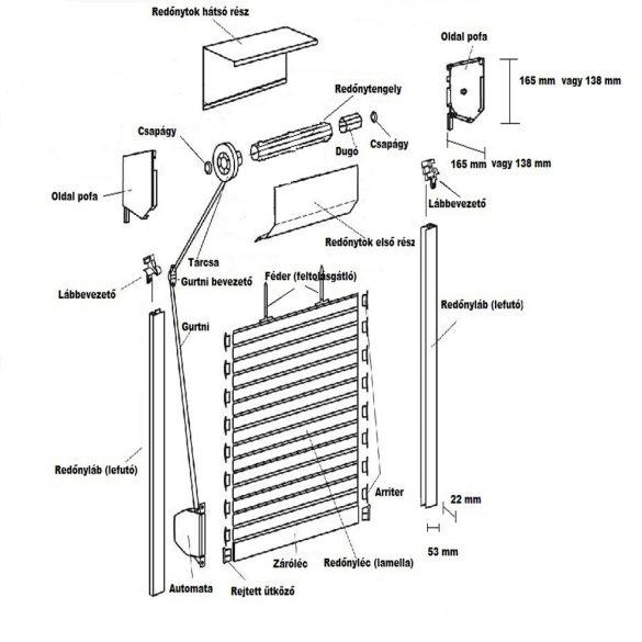 1. ALU MINI - Külső tokos alumínium redőny 39 mm-es léccel - szúnyogháló nélkül