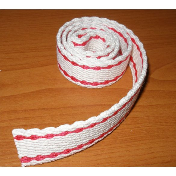 Redőny gurtni (maxi, fehér-piros) egész tekercs, 50fm