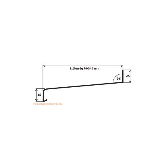 14. Alumínium párkány 195 mm (hajlított)