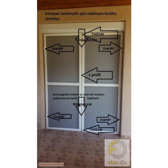 1. Szúnyogháló ajtó szett - egyedi méretre gyártott (POLIKARBONÁT BETÉTTEL) - KÉTOLDALRA NYÍLÓ SZÚNYOGHÁLÓ AJTÓ
